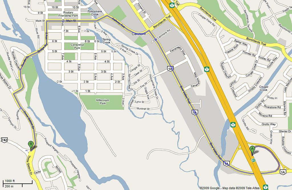 map of Canmore, AB,showing directions from Hwy 1 Trans Canada Hwy